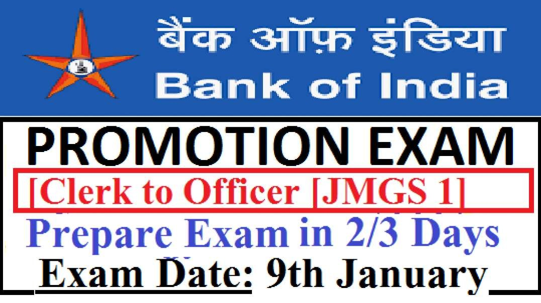 Bank Of India Promotion Exam Clerk To Officer